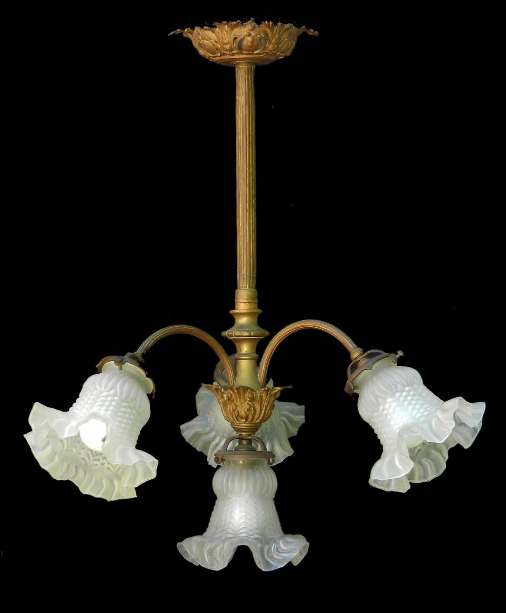 french chandelier gilt bronze glass belle epoque circa 1900