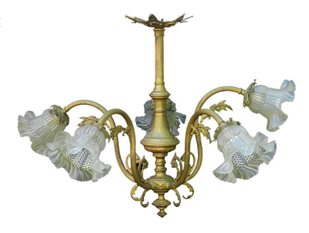 belle poque chandelier gilt bronze glass french louis xv revival circa 1900