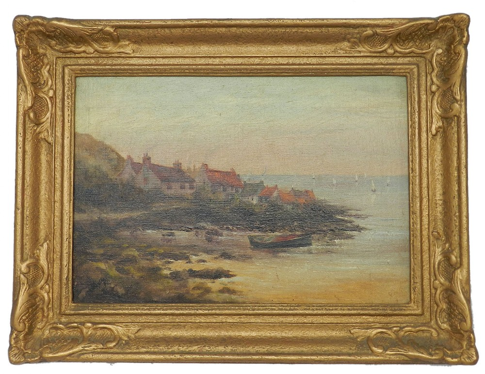 19th century oil painting of fishing village whitby