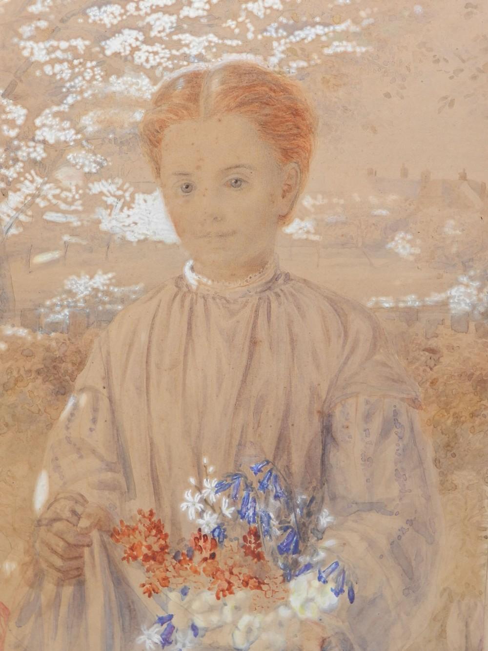 girl in garden with flowers original watercolor 19th century