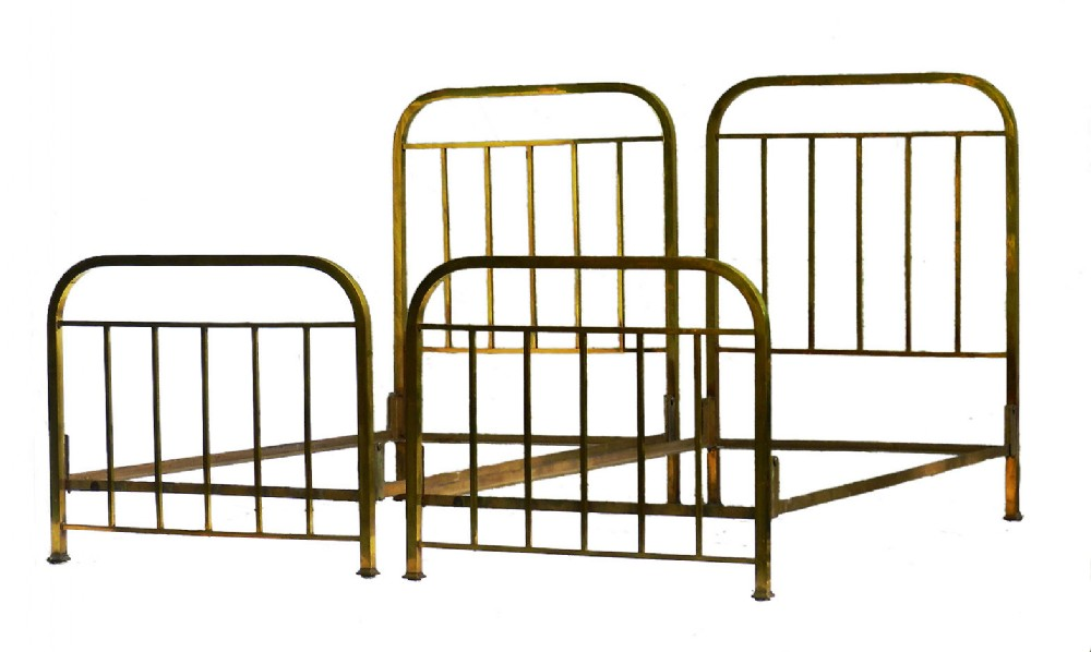 pair art deco brass beds twin french c1930 with makers label