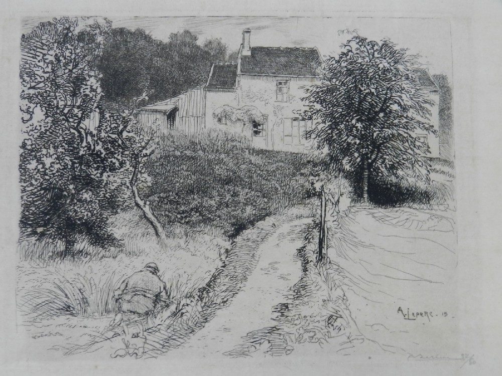 etching french country house garden signed a lepere c1915