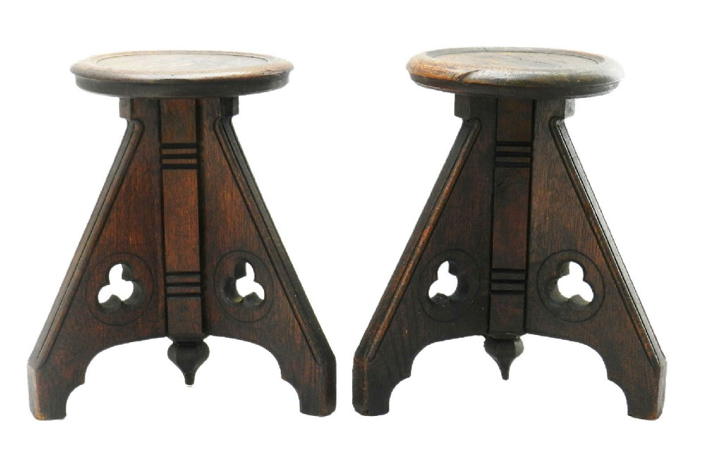 pair of 19th century gothic stools country house oak
