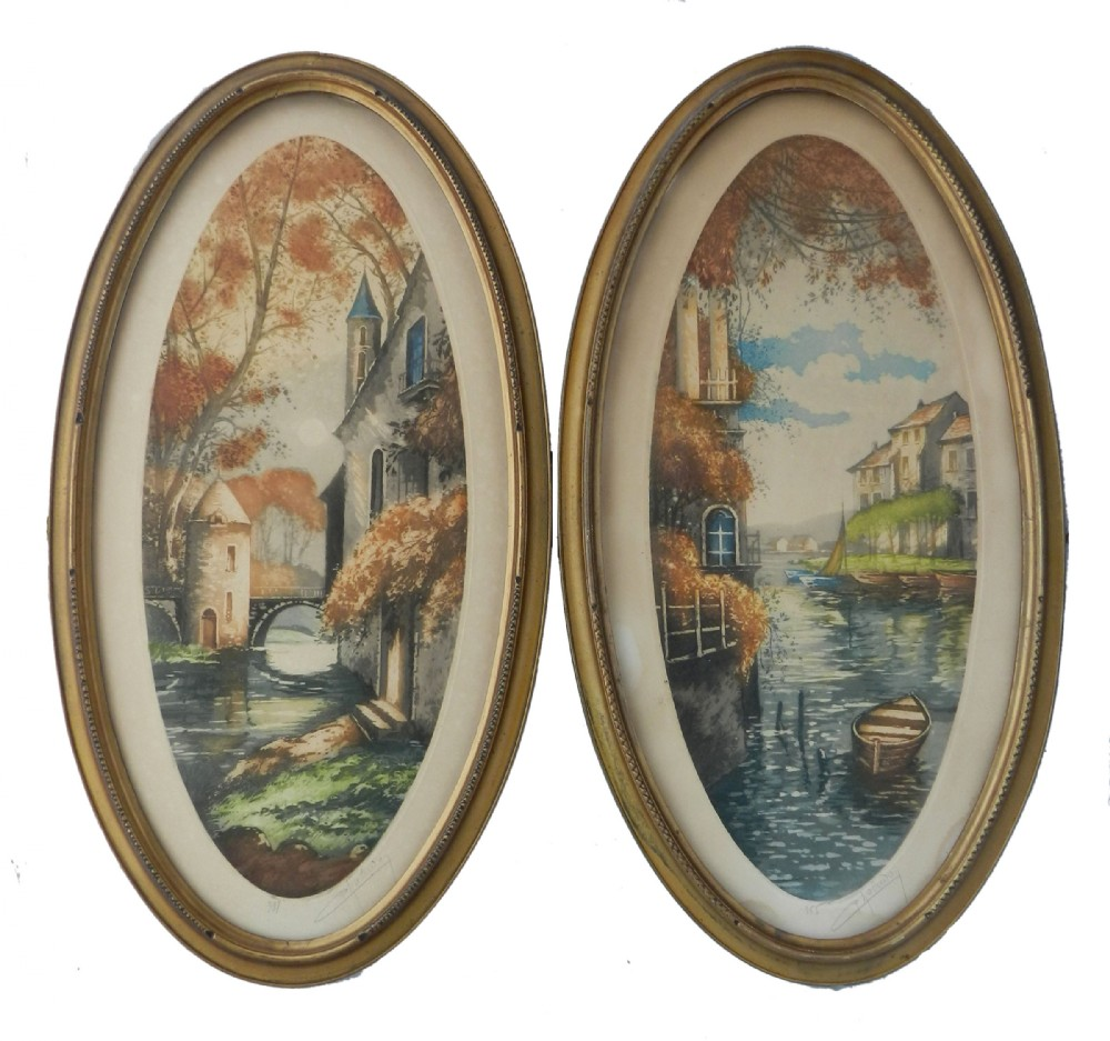 pair french chateau landscape 1 signed by artist lithograph c1920
