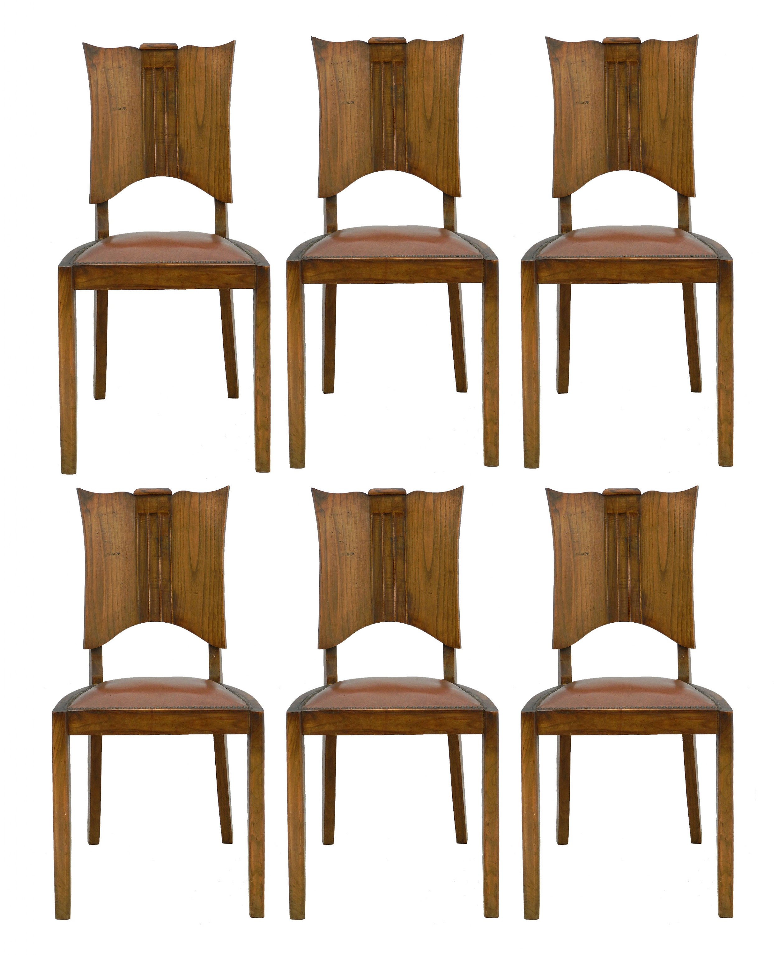 six art deco dining chairs french walnut