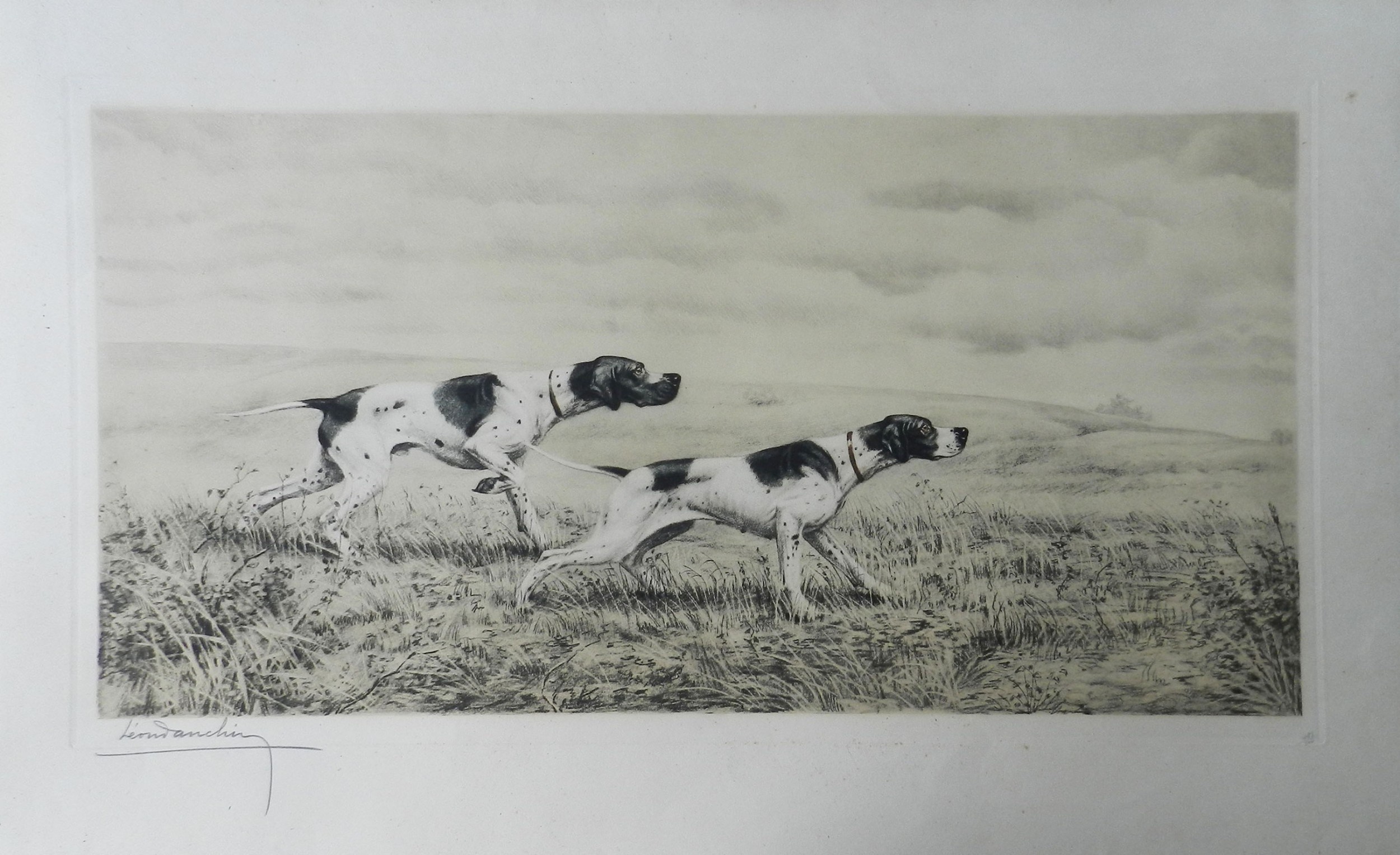 pair of pointers by leon danchin engraving c1920