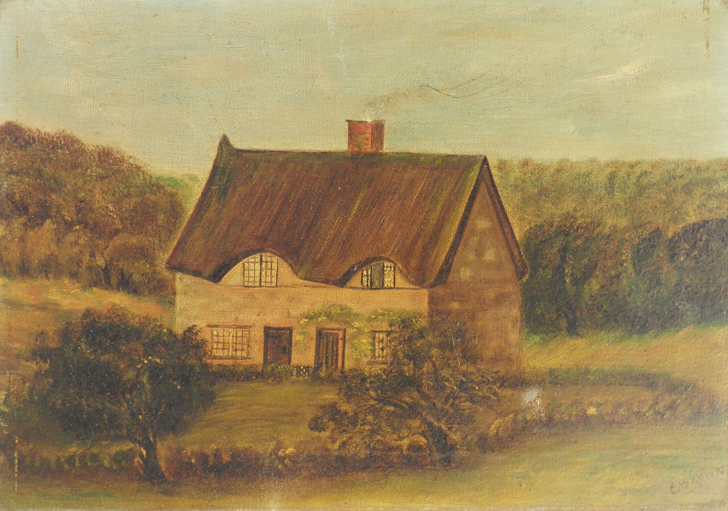naive 19th century house painting english signed c brown