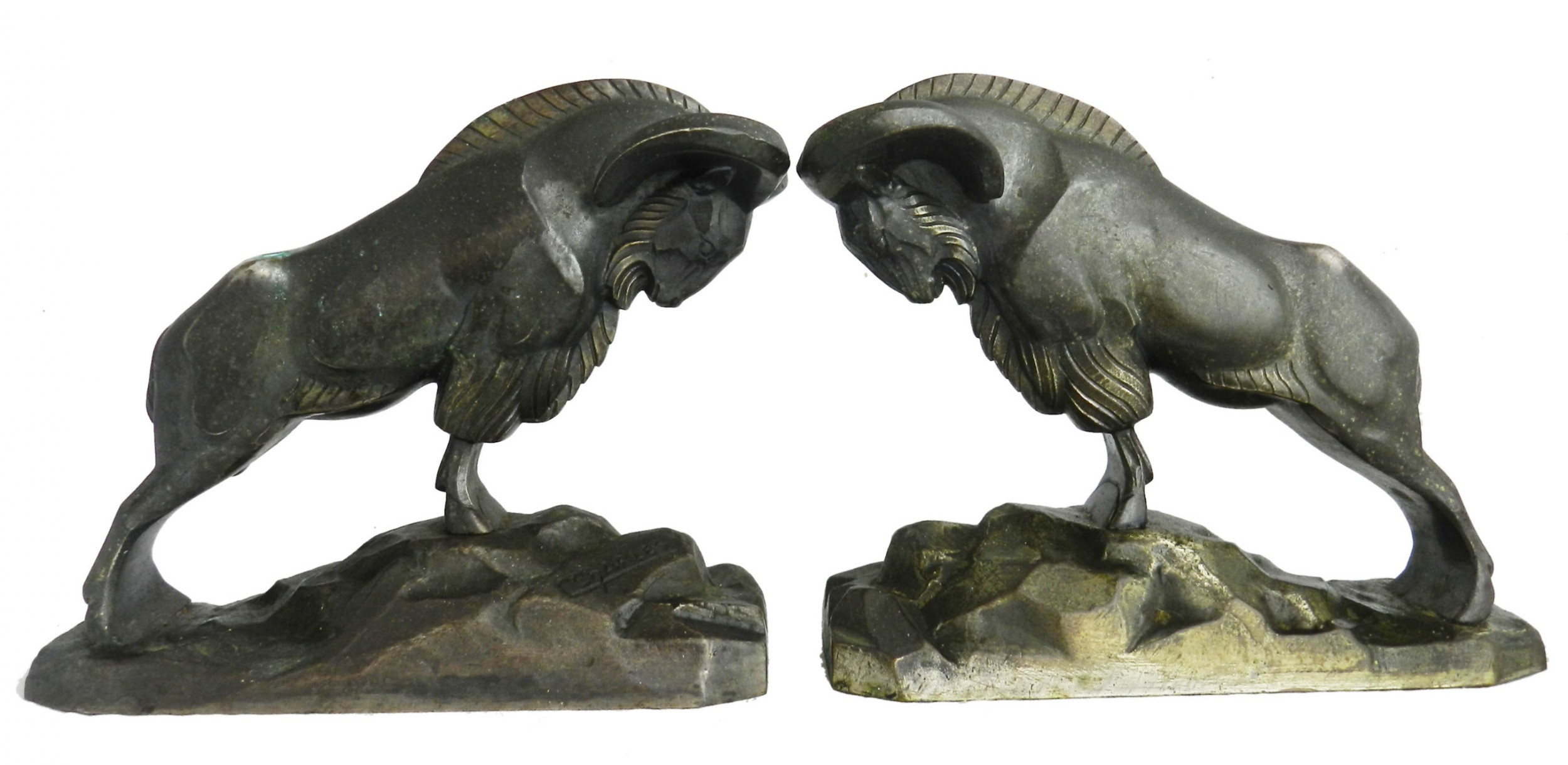 art deco signed pair bronze mountain rams bookends by c charles c1930