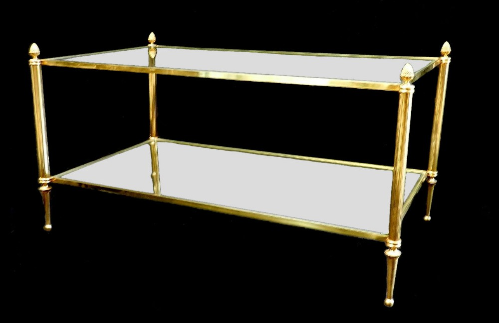 Early Vintage French 2 Tier Brass And Glass Coffee Side Table 269711