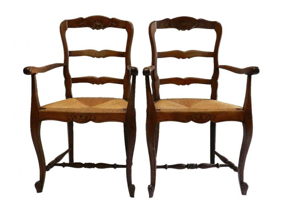 Pair Provincial French Louis Revival Oak Chairs Dining Carvers Farmhouse Kitc