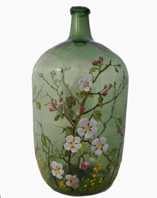 Unusual C19 French Wine Hand Painted Hand Blown Green