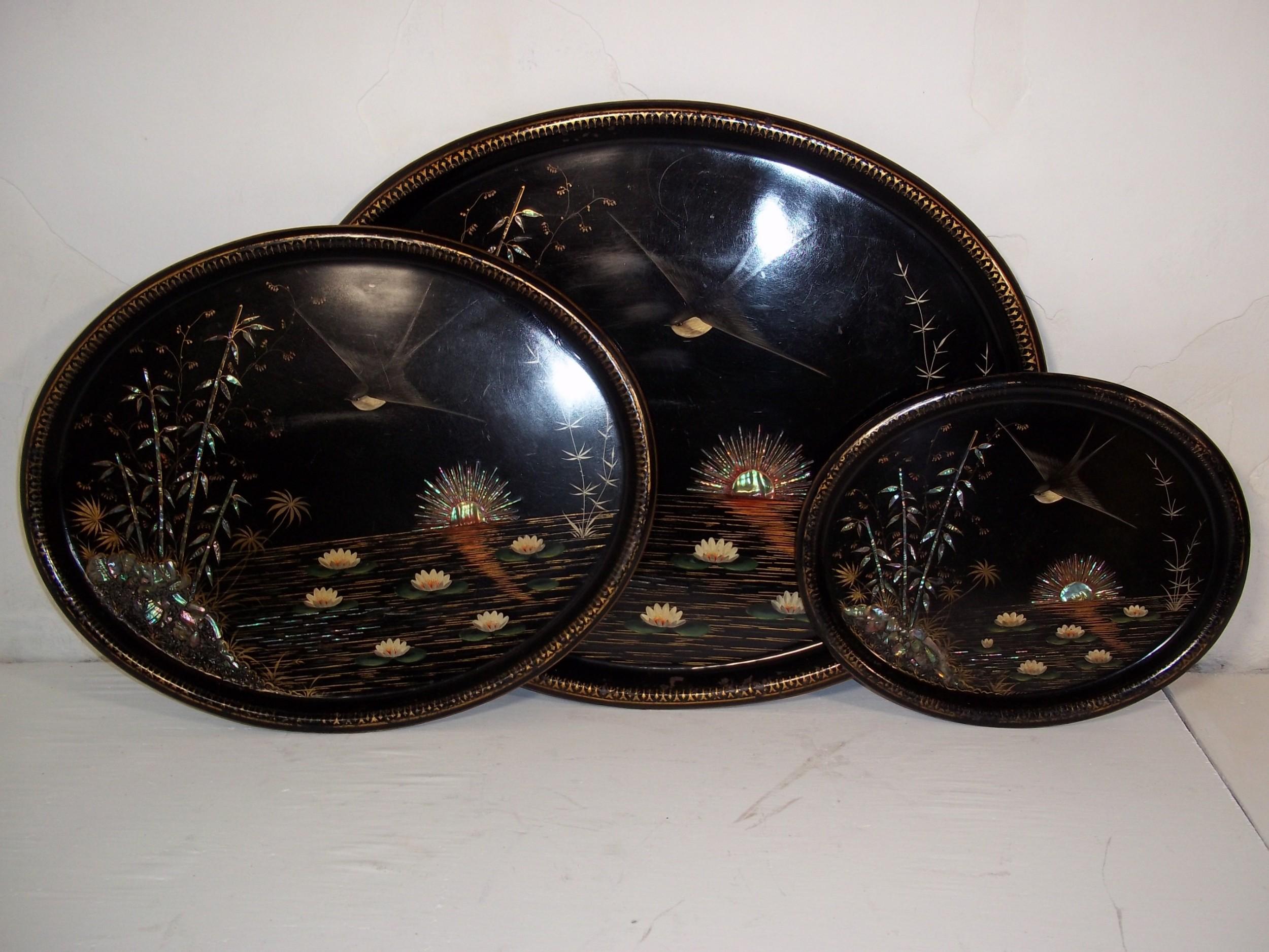 set of three tole trays