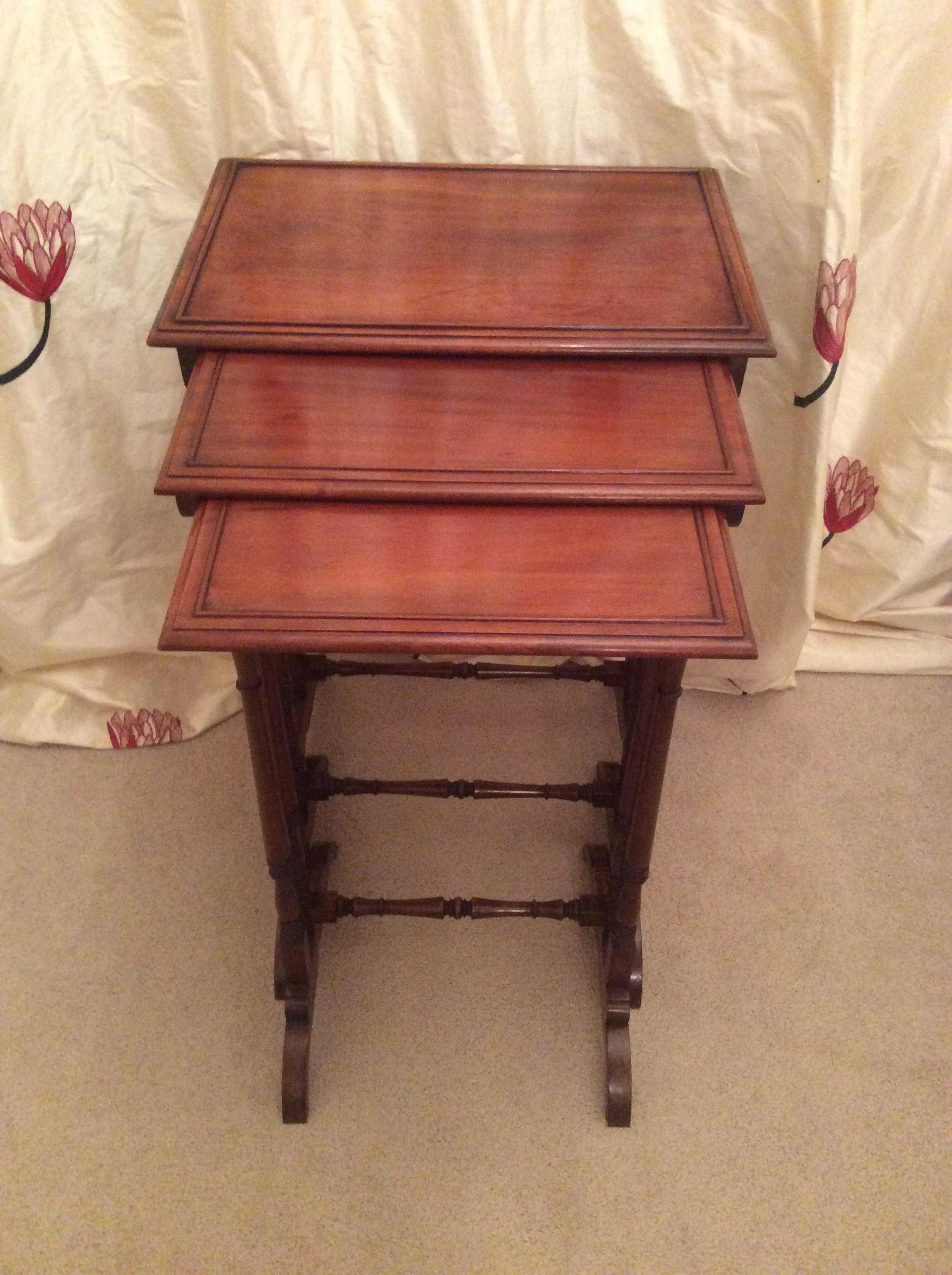 19th century mahogany nest of three tables