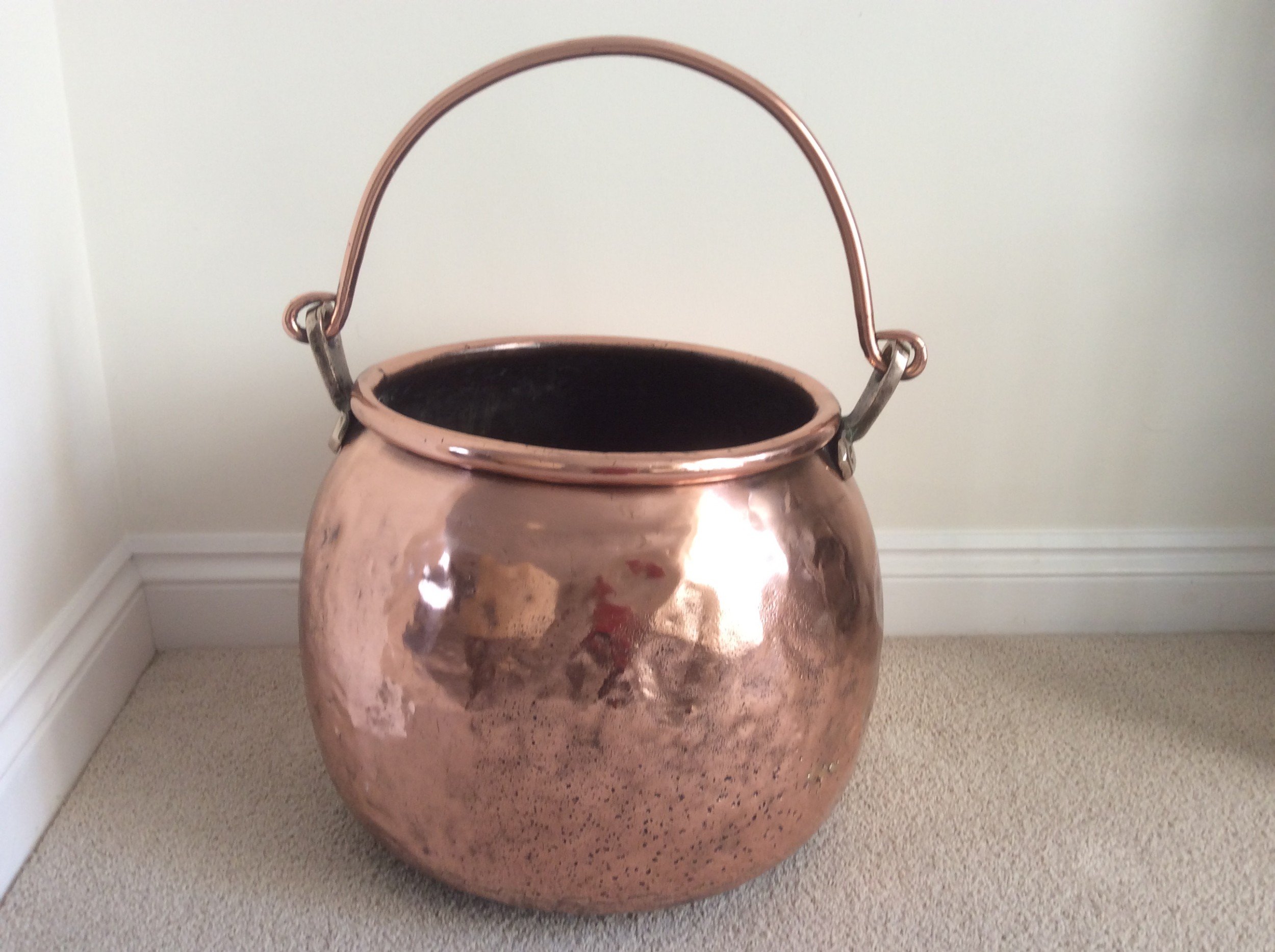 19th century copper cauldron with swing handle