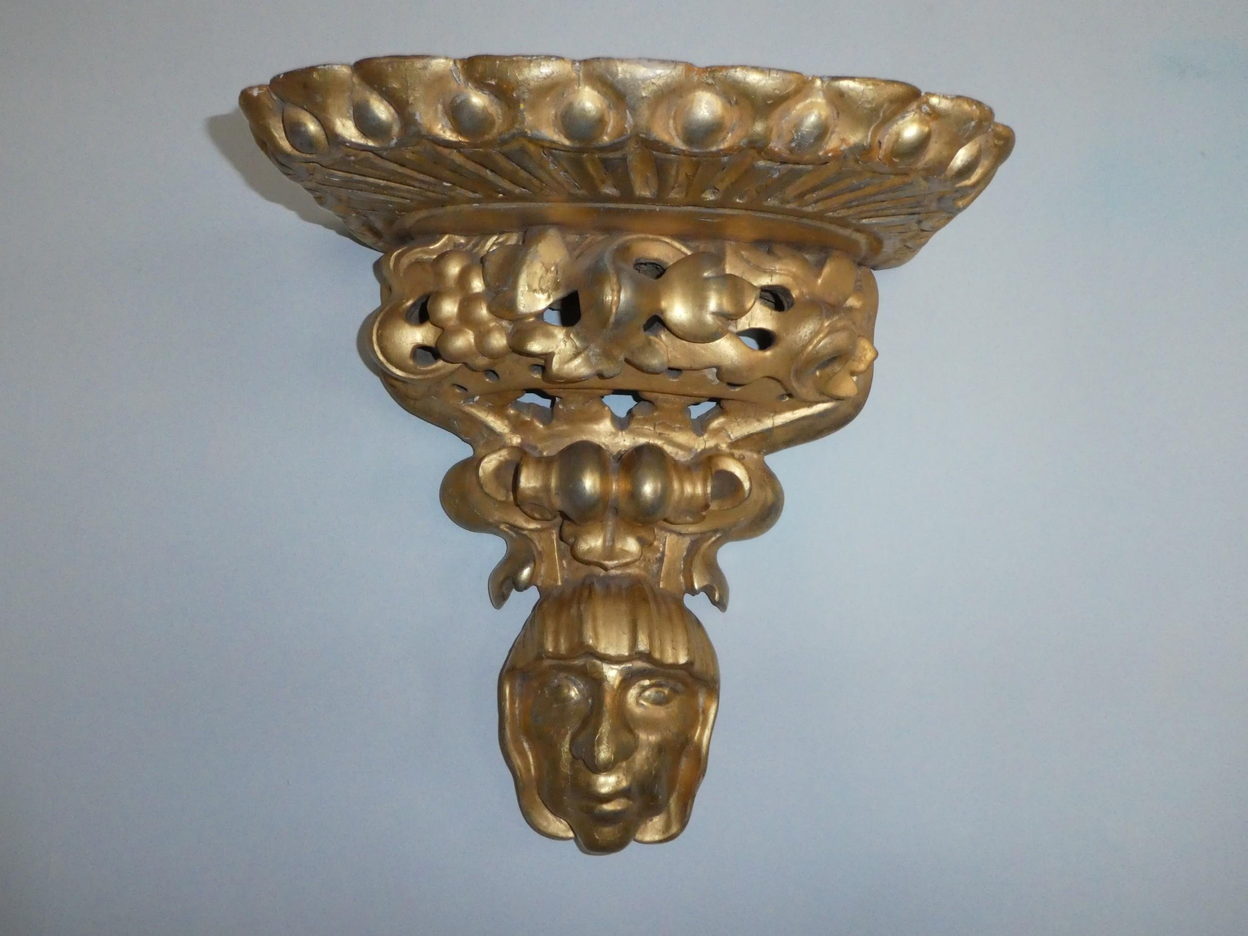 large decorative florentine gilt wood wall bracket