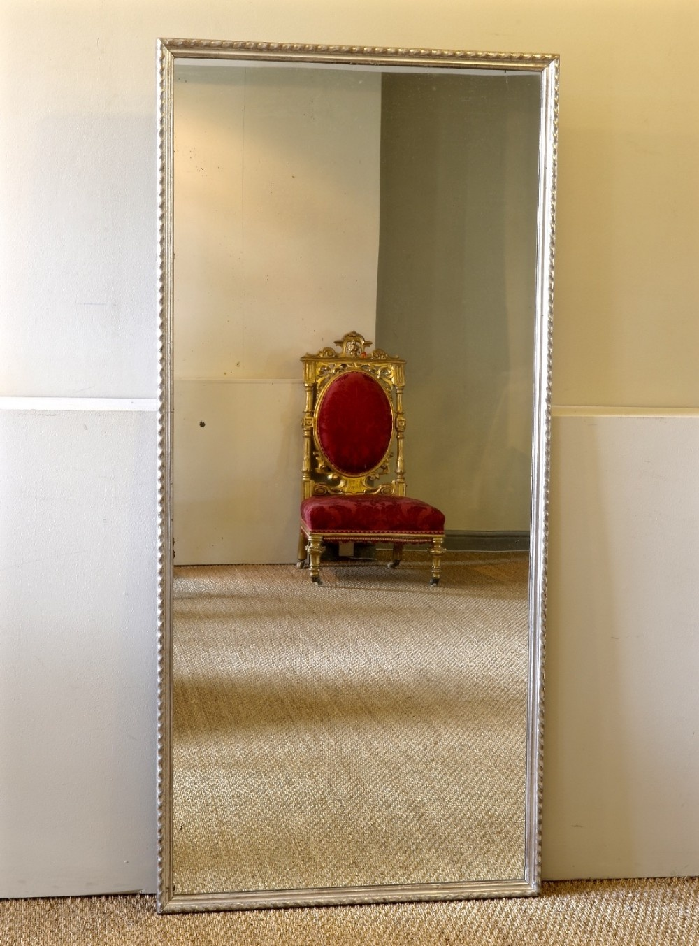 a large french silver gilded ripple style dressing hall mirror