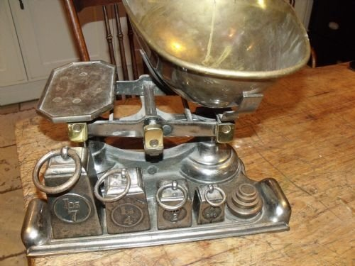 C1900 Antique Polished Steel Brass Kitchen Scales