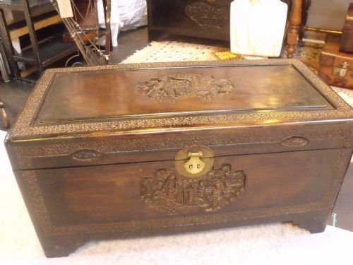 Fine c chinese shanghai camphor wood chest
