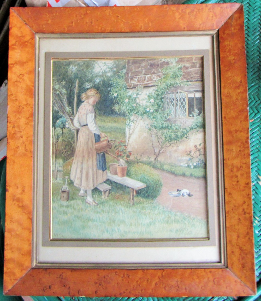 henry sands 18861906 girl with a cat in a cottage garden watercolour