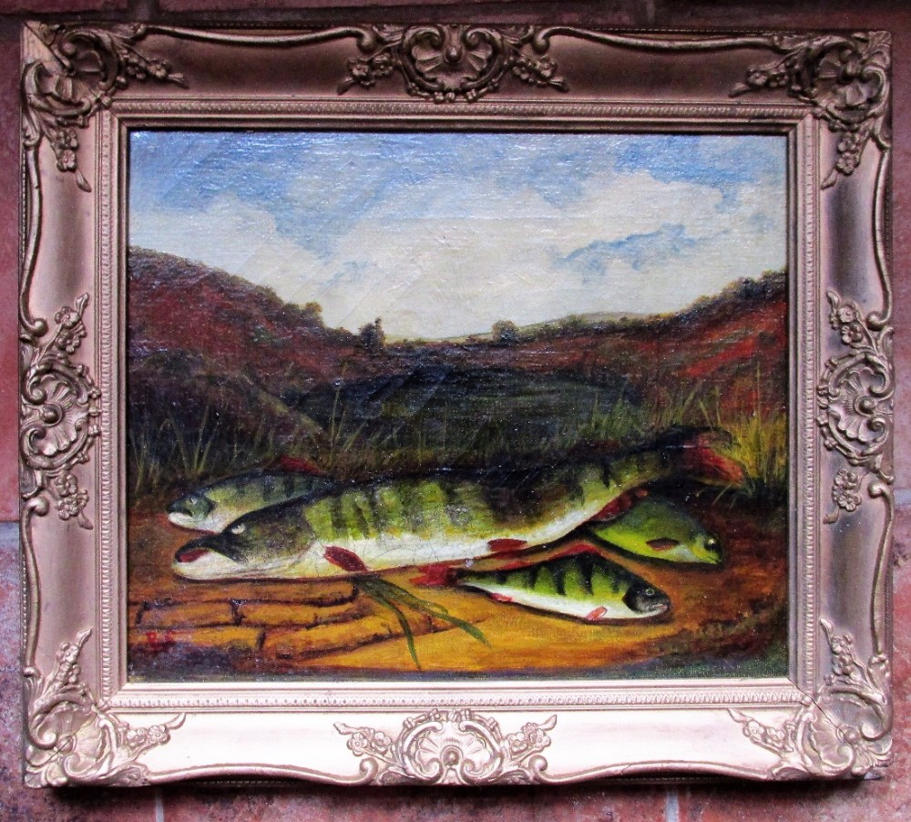 c1920 still life oil painting on canvas fish on the bank signed with monogram