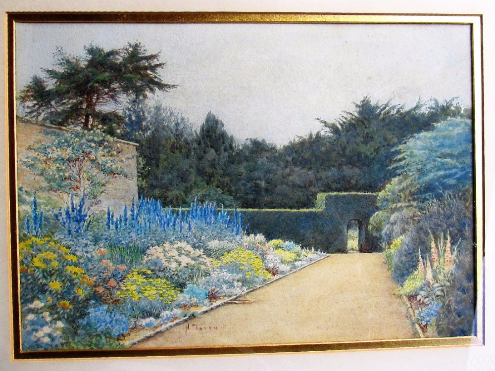 henry m terry 18791920 watercolour formal garden