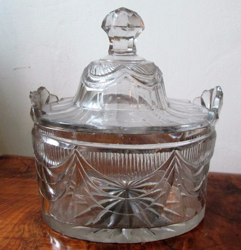 georgian irish cut glass tea caddy