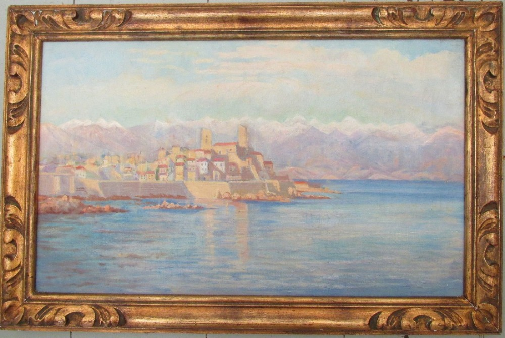 c1900 impressionist oil painting nice france lable verso