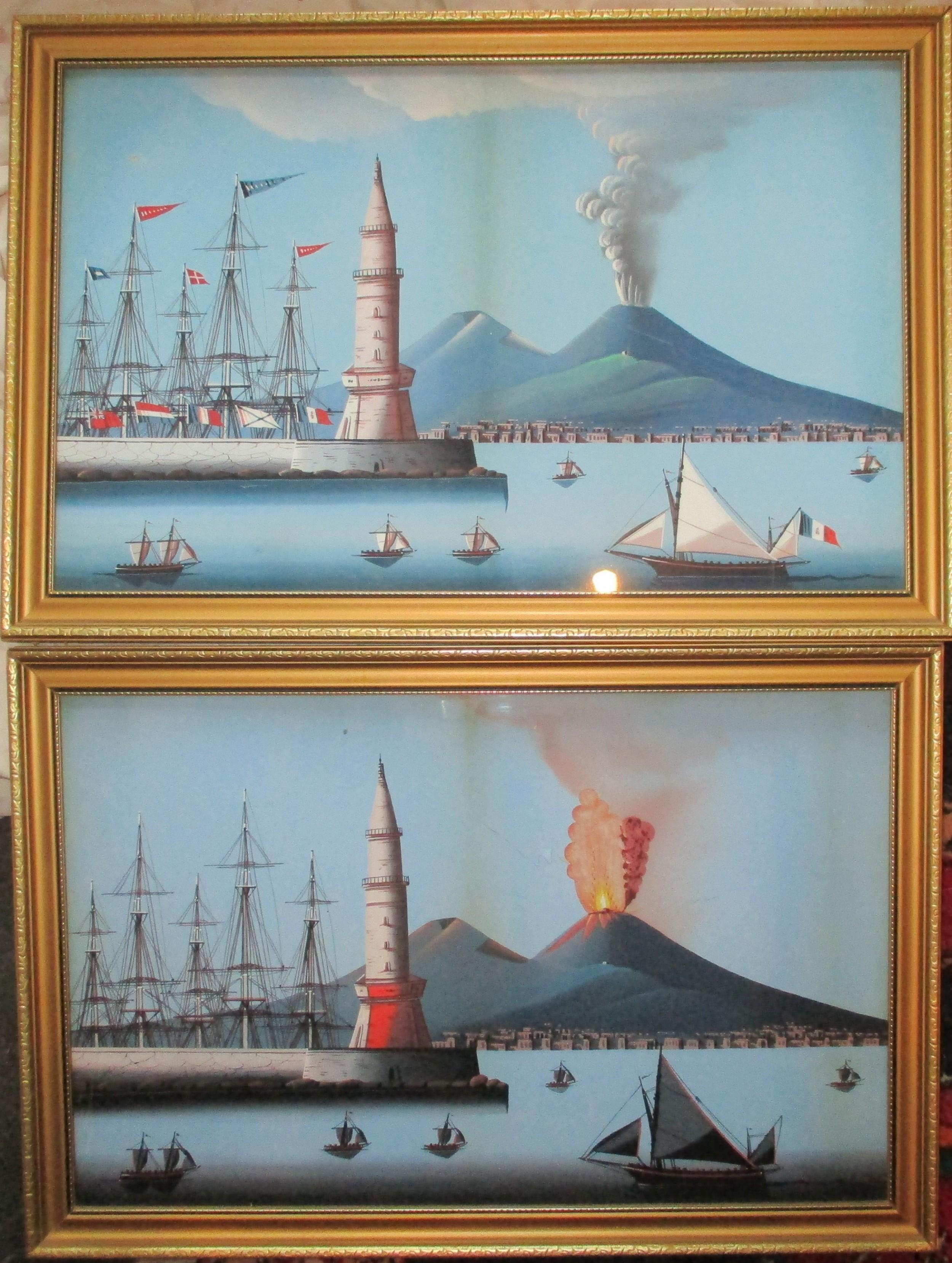 c19th century neapolitan bay of naples paintings guache
