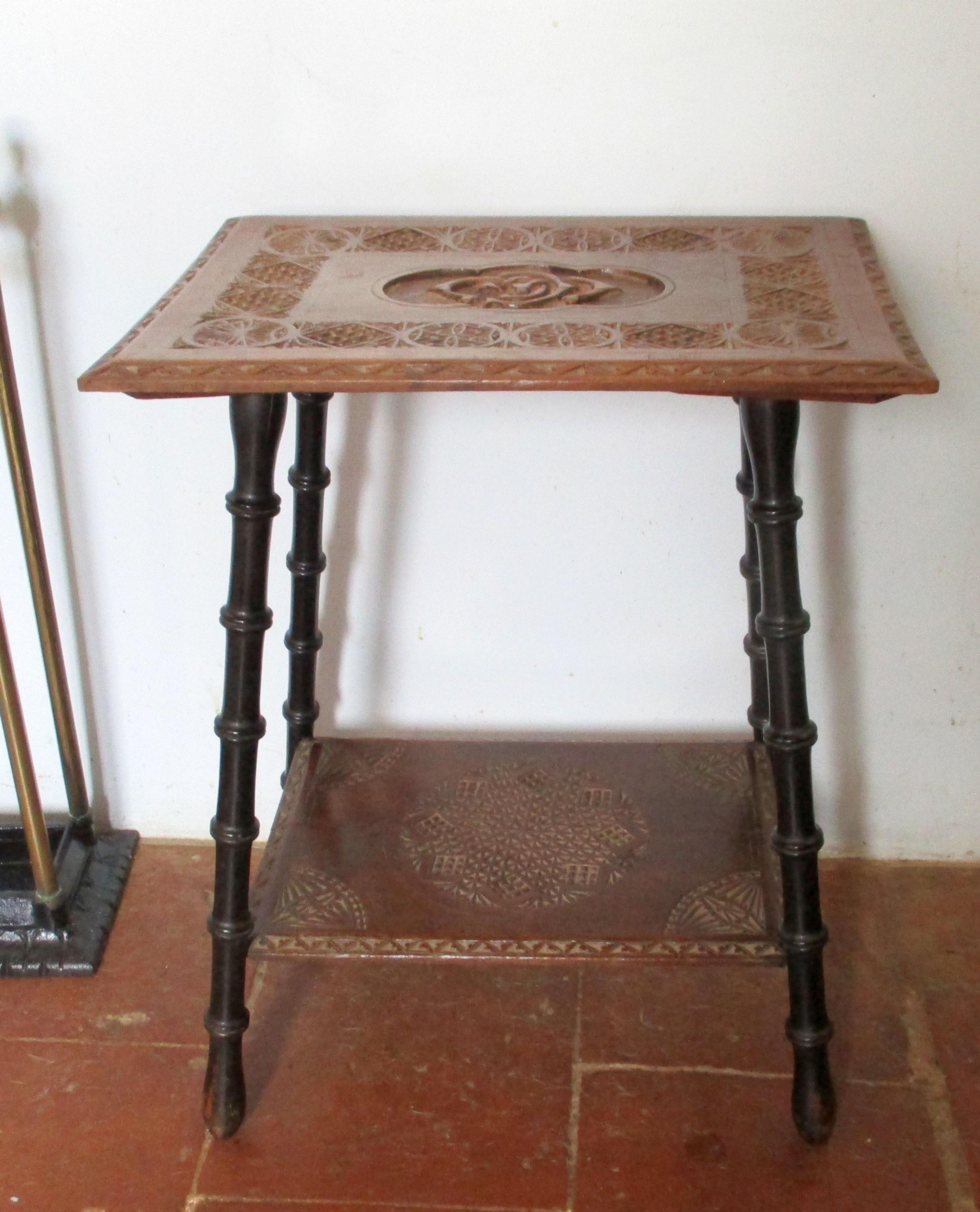 charming c1870 carved oak lamp side table