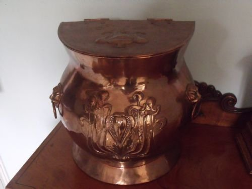 good william soutter fireside wood box coal scuttle art nouveau