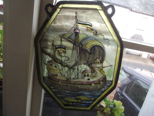 late victorian stained glass light catcher