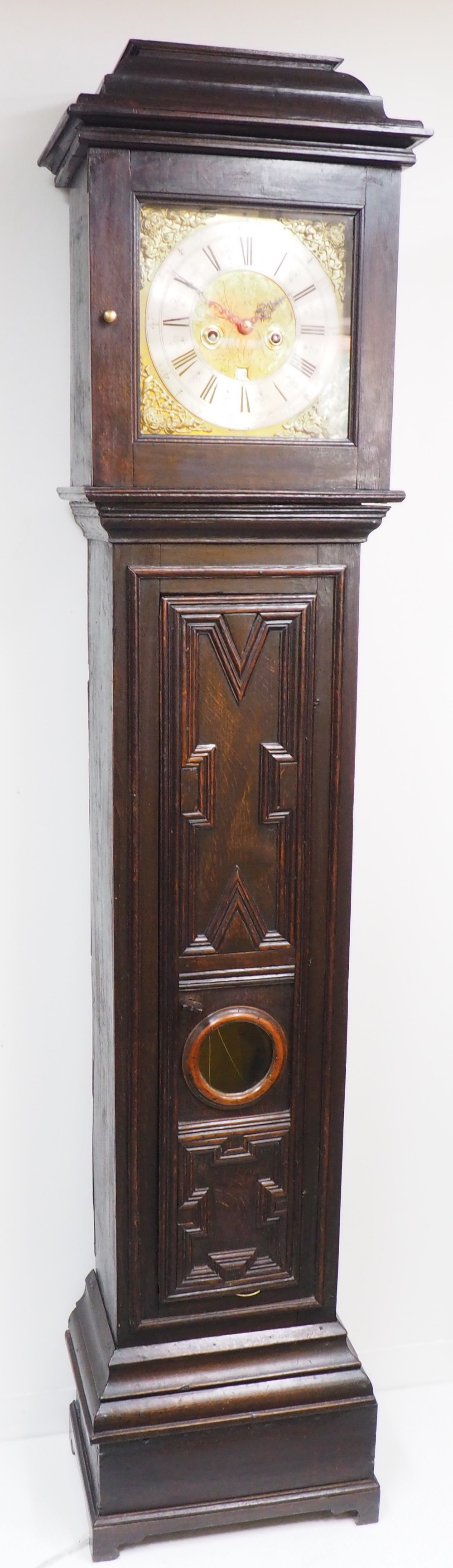 18thc english longcase clock in oak case silver brass dial signed john taylor