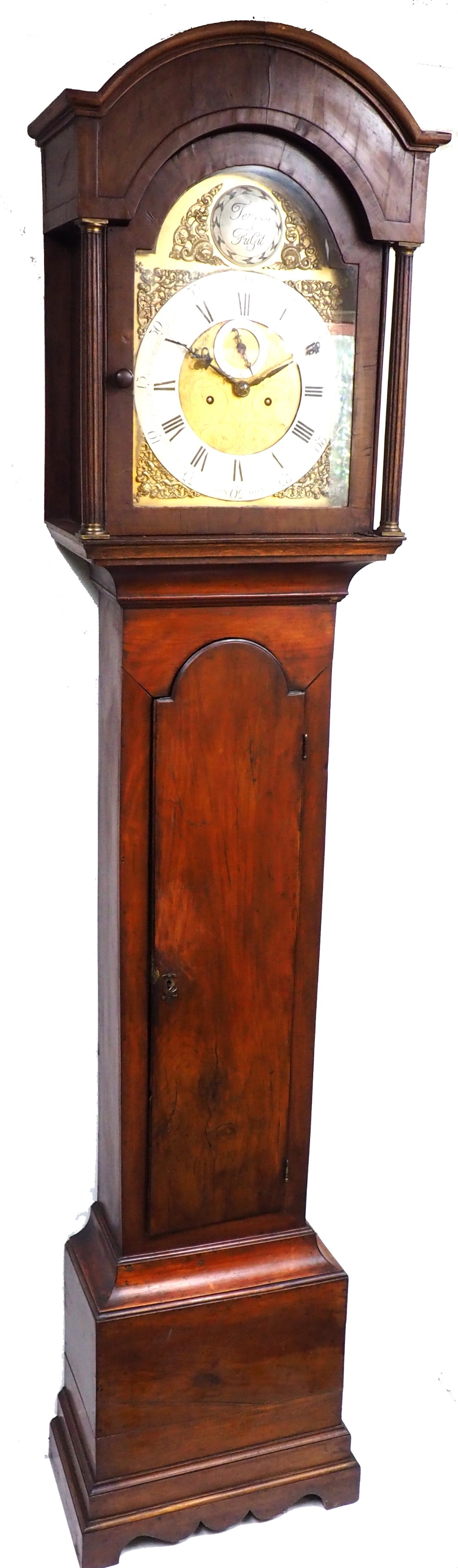 19thc london longcase clock in walnut case arched silver brass dial signed john ward london