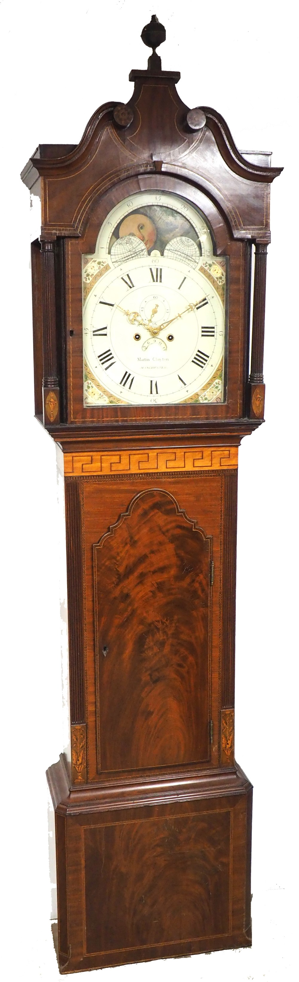 19thc english longcase clock in mahogany painted moon roller dial 8day signed martin clayton