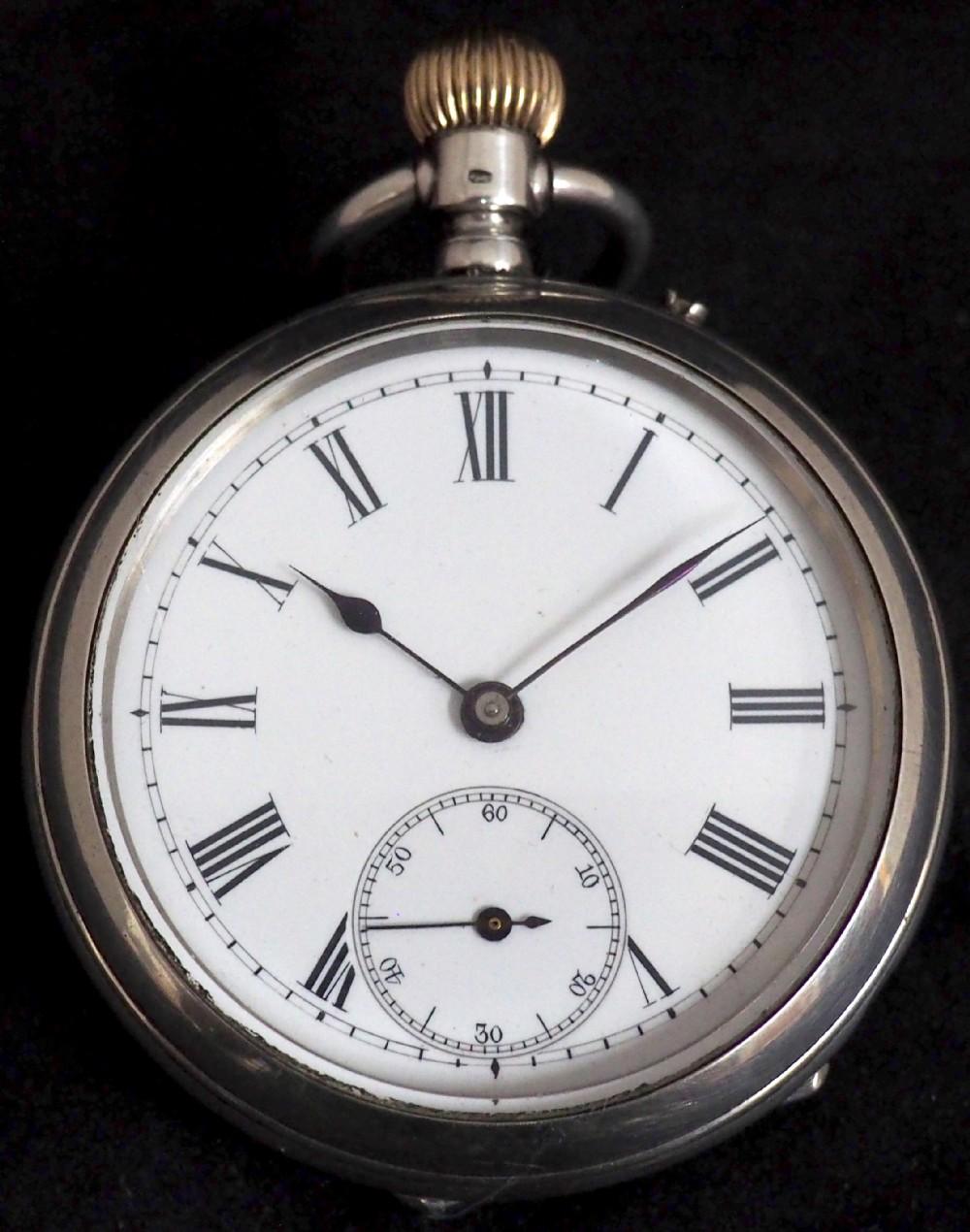 fine antique silver pocket watch keyless wind open face pocket watch swiss made
