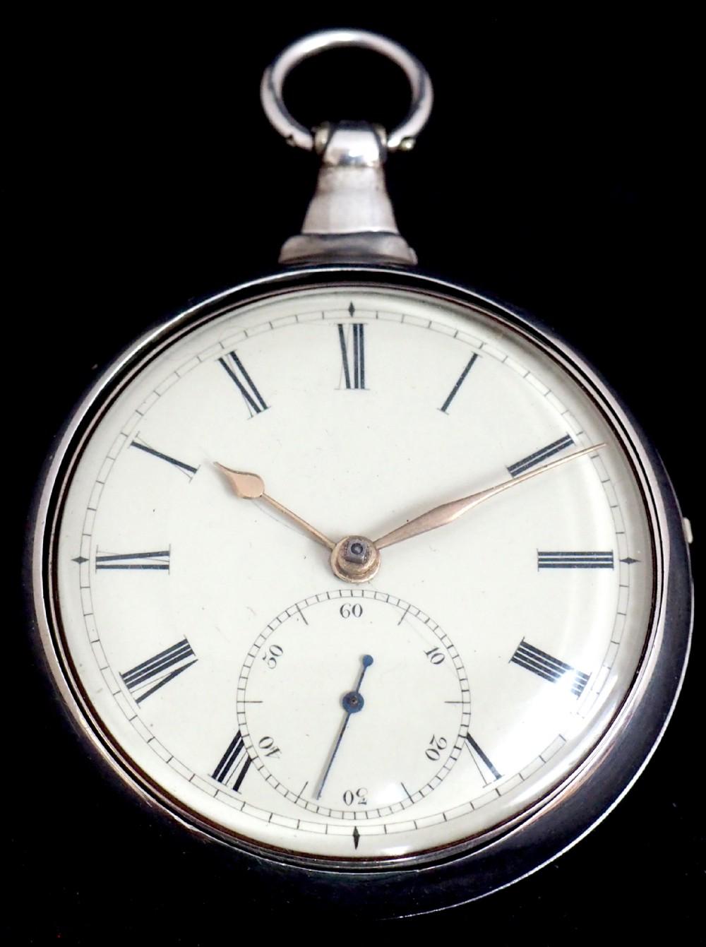 antique silver pair case pocket watch fusee escapement key wind enamel dial john bernard london liverpool