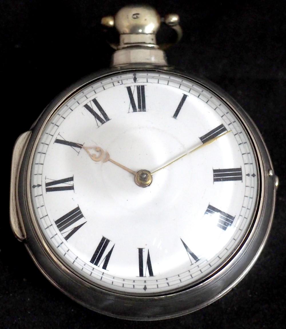 antique silver pair case pocket watch fusee verge escapement key wind enamel dial w hollison london