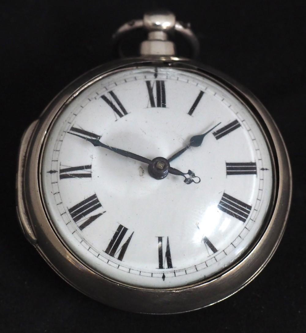 superb antique silver pair case pocket watch fusee verge escapement key wind enamel dial johnson london