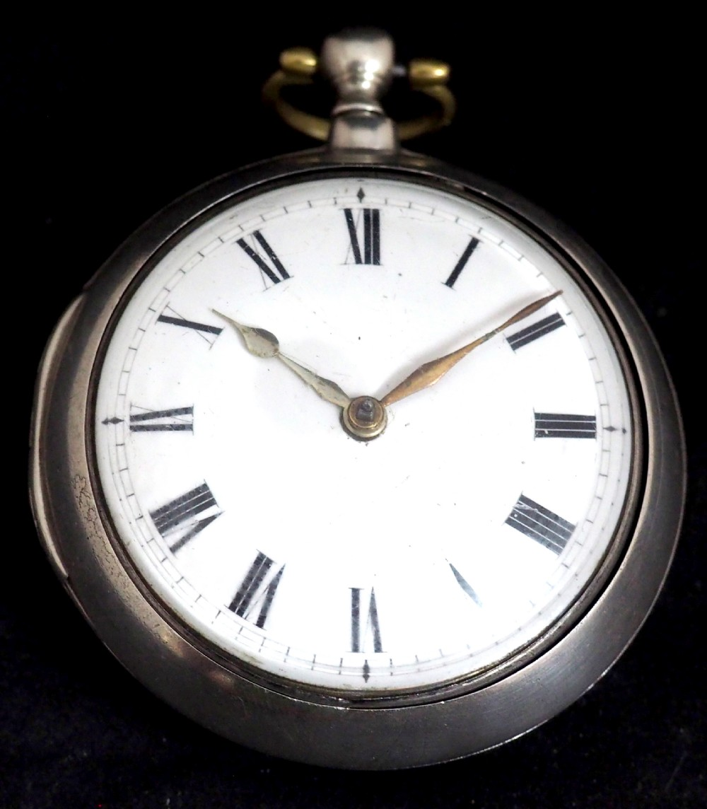 antique silver pair case pocket watch fusee verge escapement key wind enamel j crainbrook