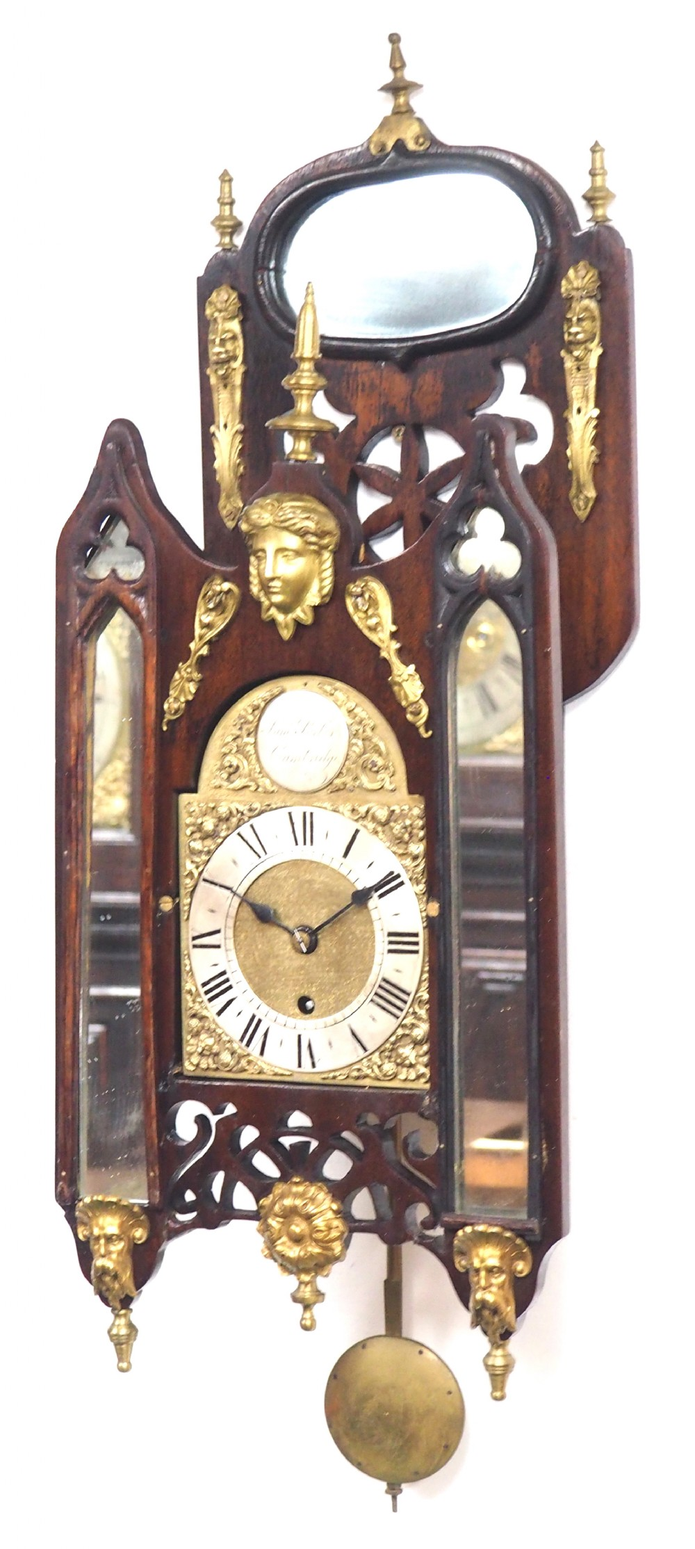 very rare english fusee 5 inch dial wall clock mahogany gothic ormolu wall clock by james parker cambridge