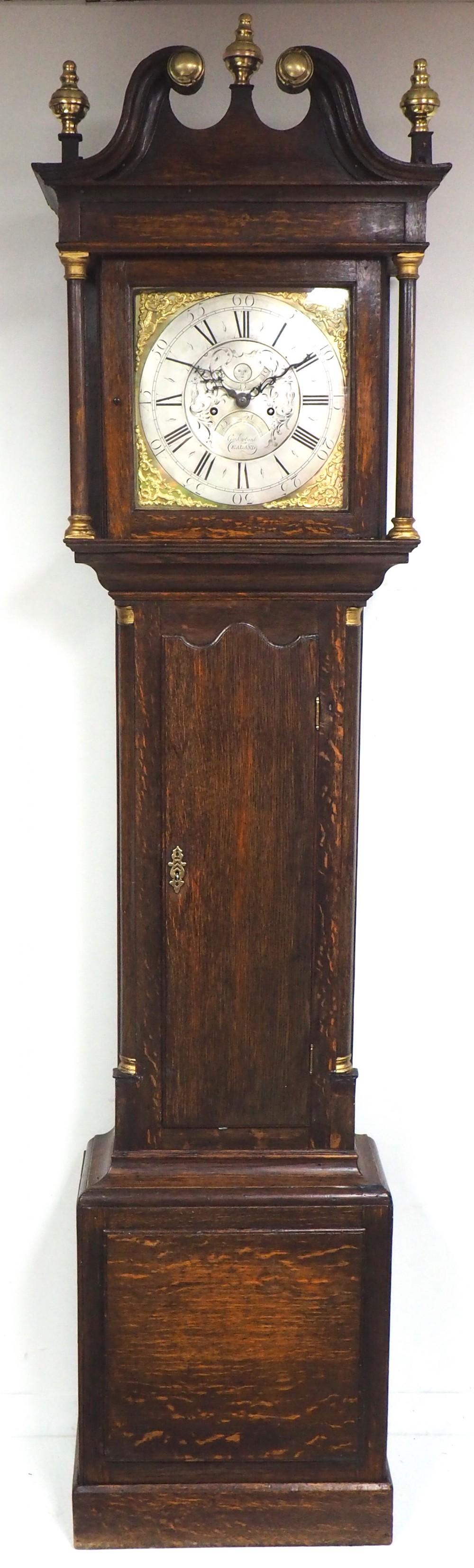 18thc english longcase clock in oak case silver brass dial signed george ewbank ealland yorkshire