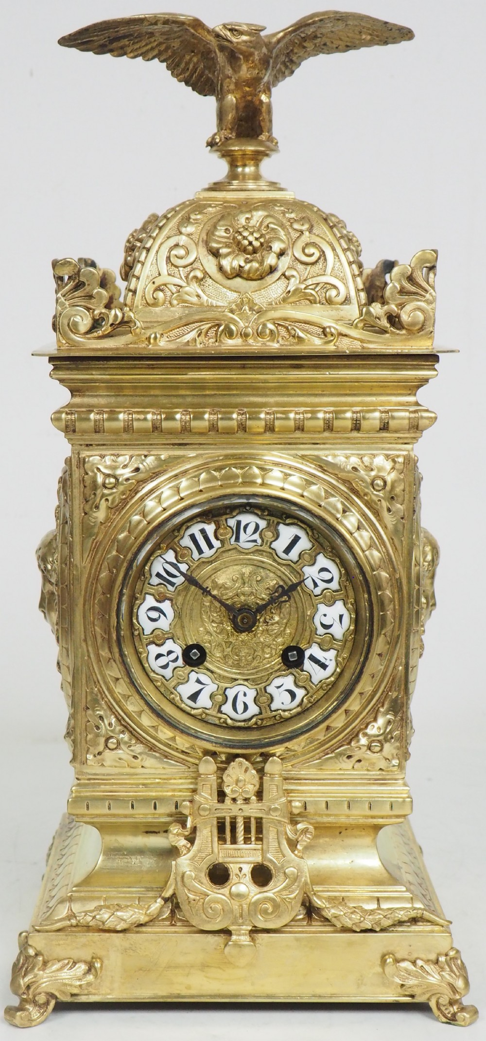 antique french ormolu cubed mantel clock embossed decoration eagle finial 8 day striking