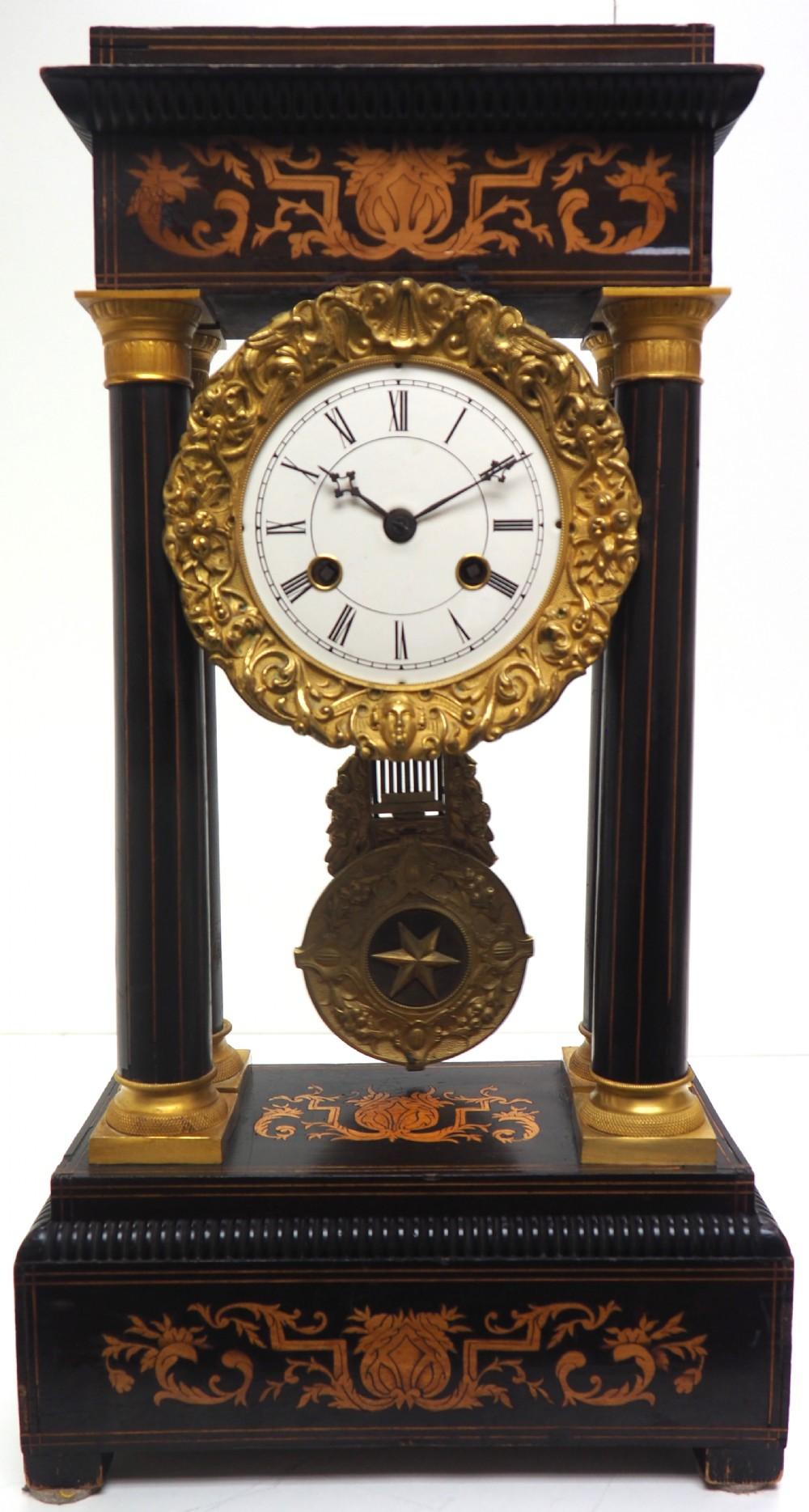 antique satinwood inlaid mantel clock rosewood french striking portico mantle clock