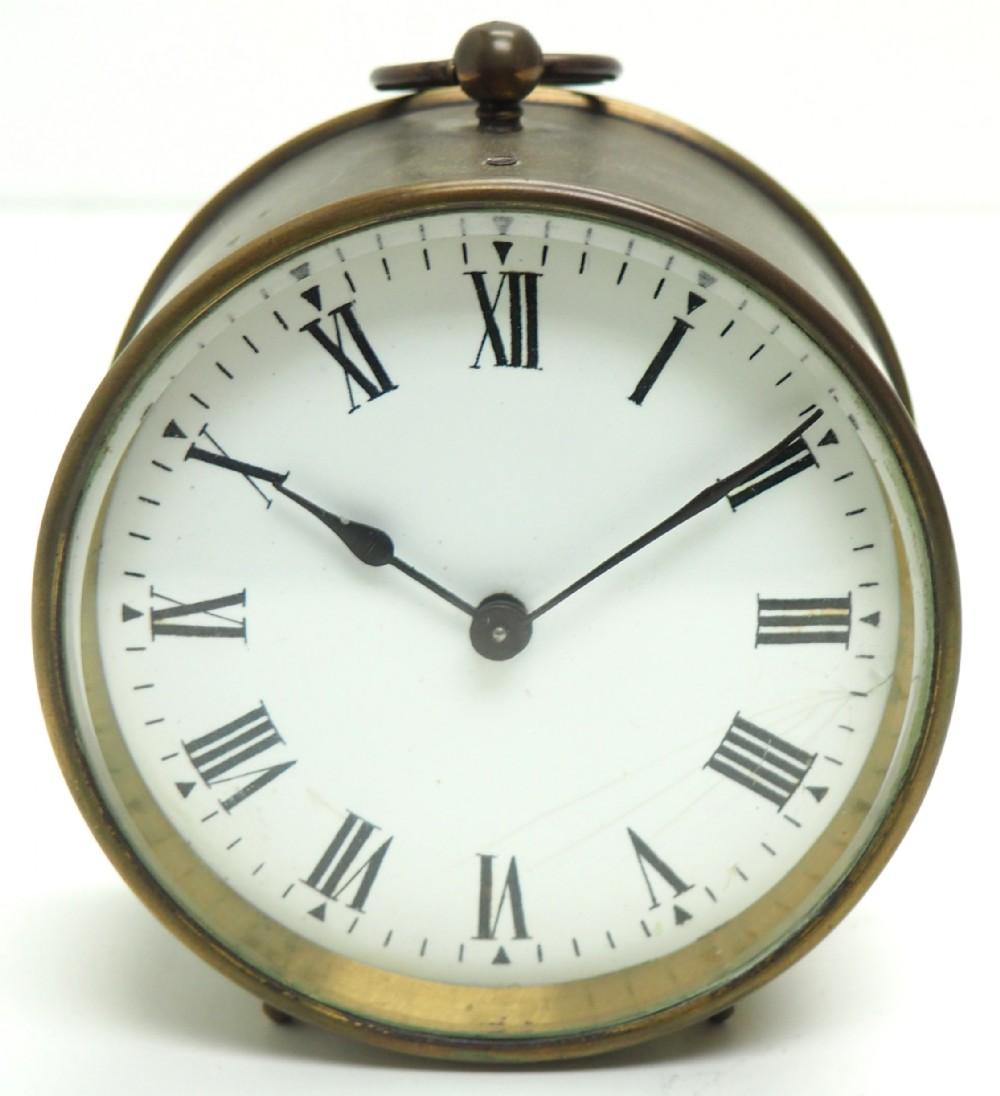 french drum carriage clock rare enamel dial drum case mantel clock platform balance