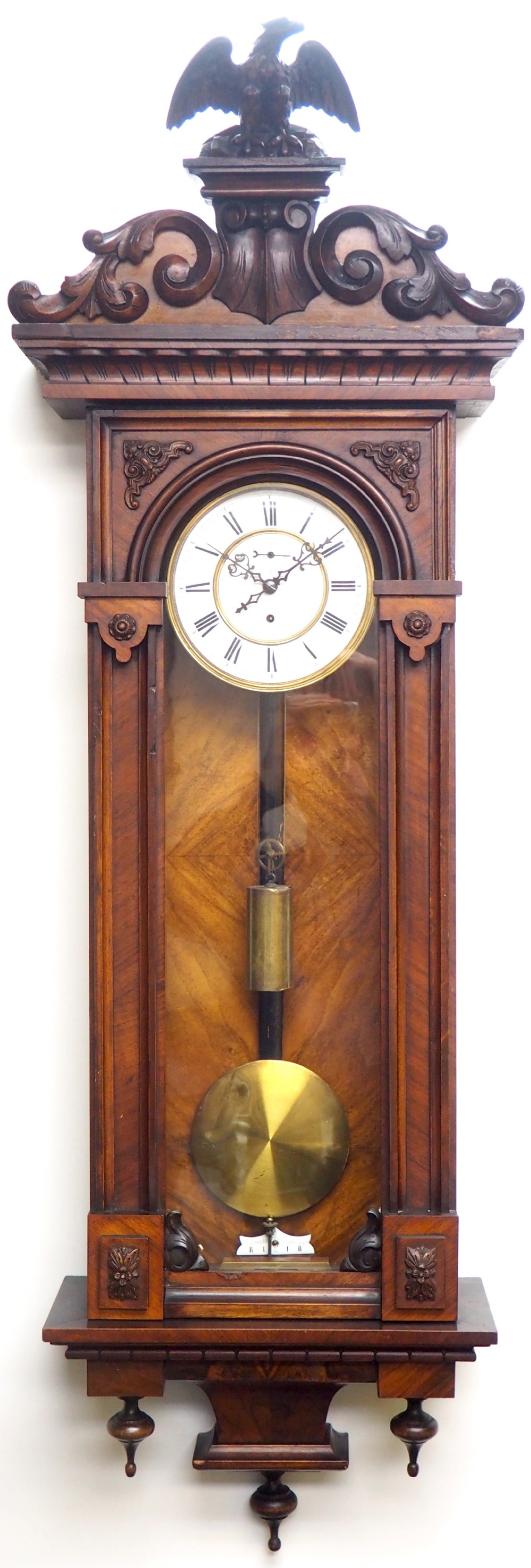 wow antique german single weight walnut 8day vienna regulator wall clock