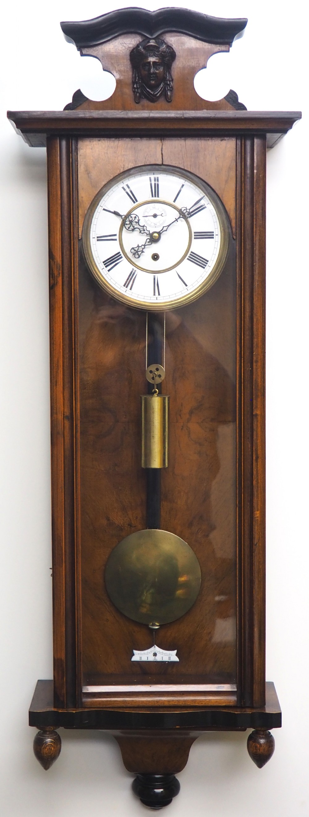 antique rocket cased single weight walnut 8day vienna regulator wall clock