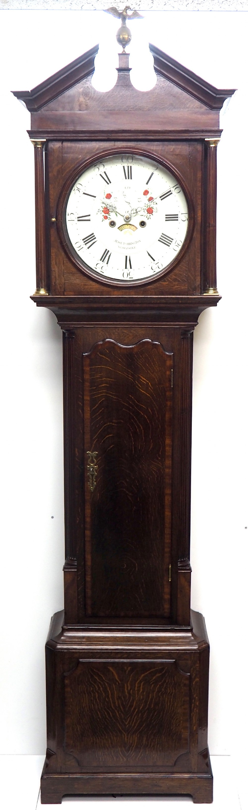 antique 8 day longcase clock fine british oak grandfather clock with painted round dial