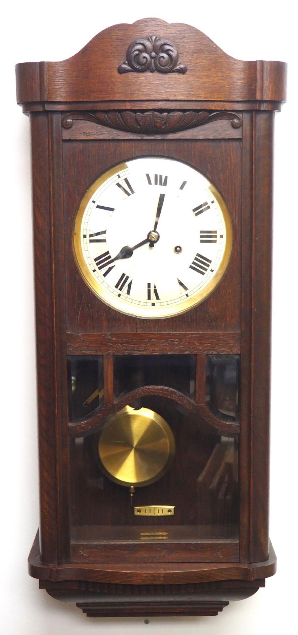 perfect art deco musical westminster chime wall clock 8day solid oak with bevelled glass panels