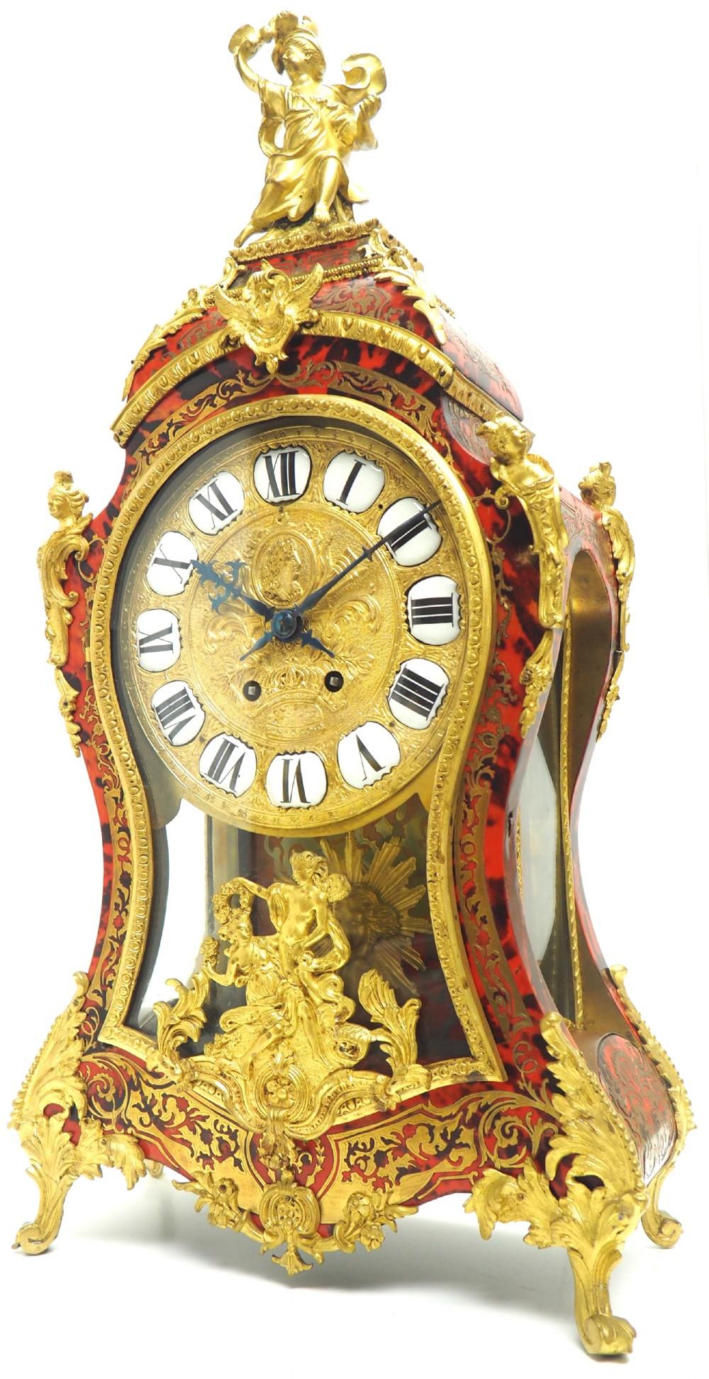 wow phenomenal french boulle mantel clock rare 8day striking bracket clock superb condition