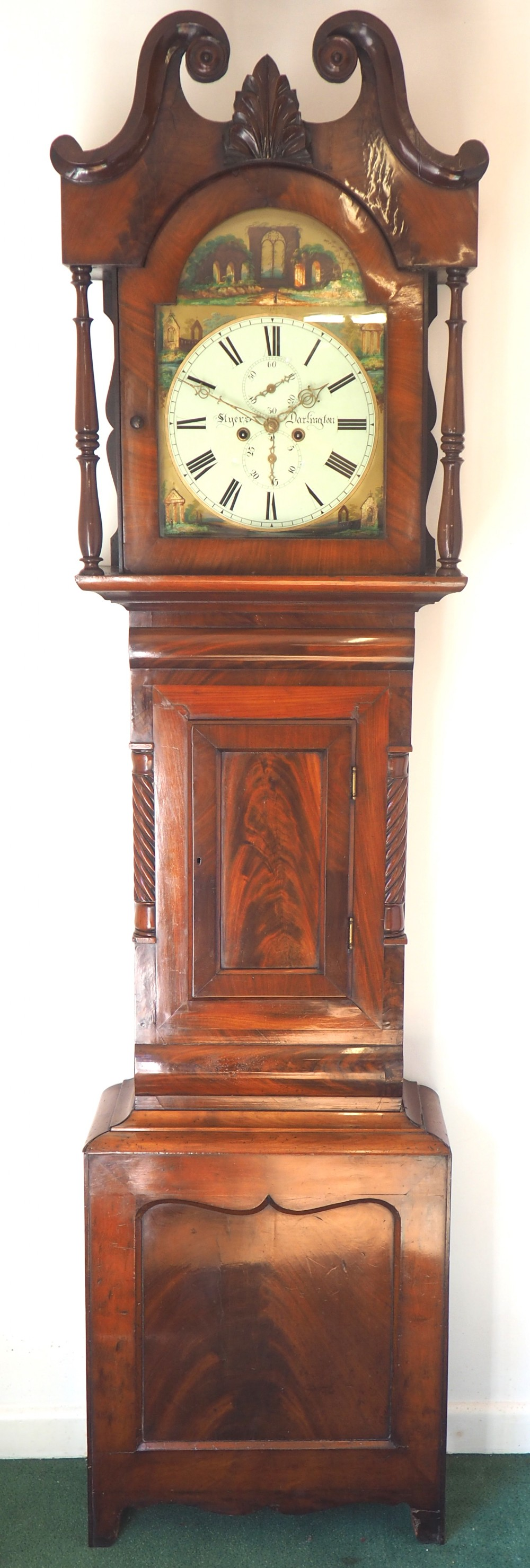 fine english longcase clock styers of darlington 8day grandfather clock with moon roller dial